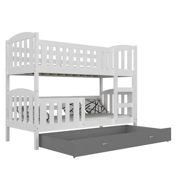 Łóżko piętrowe - Kubuś (biel szary) z materacami 190x80 cm, z szufladą