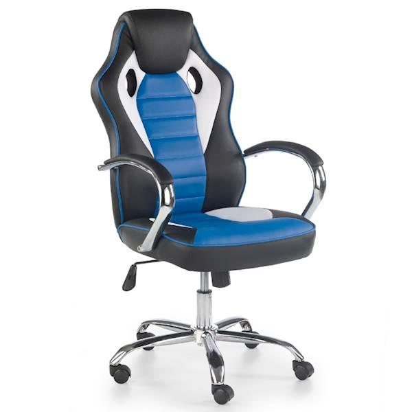 SCROLL fotel gracza czarny / biały / niebieski