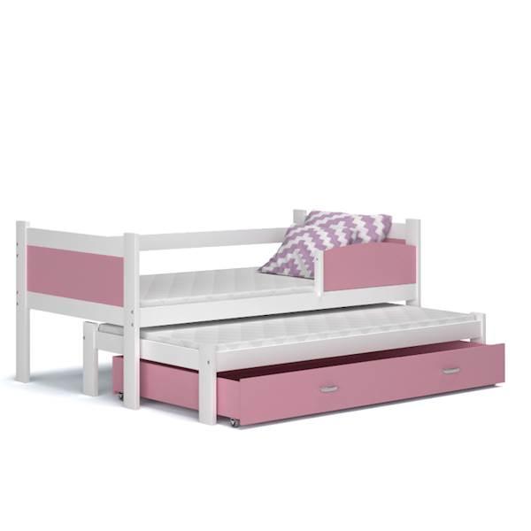 Łóżko 2 poziomowe - TWIST (biały + różowy) z materacami 184x80 cm, z szufladą