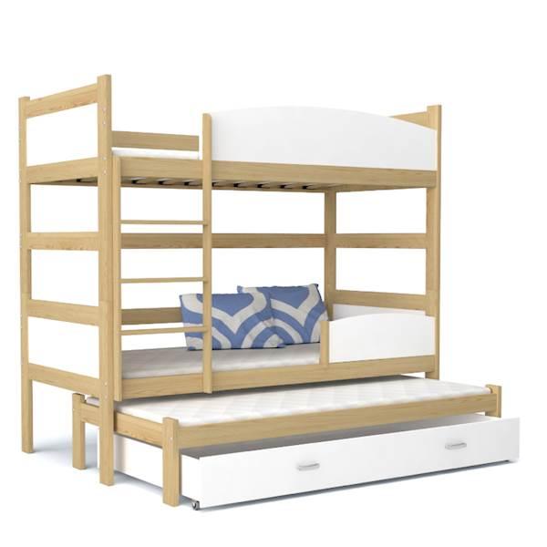 Łóżko piętrowe 3 osobowe - TWIST (sosna + biały) z materacami 184x80 cm, z szufladą