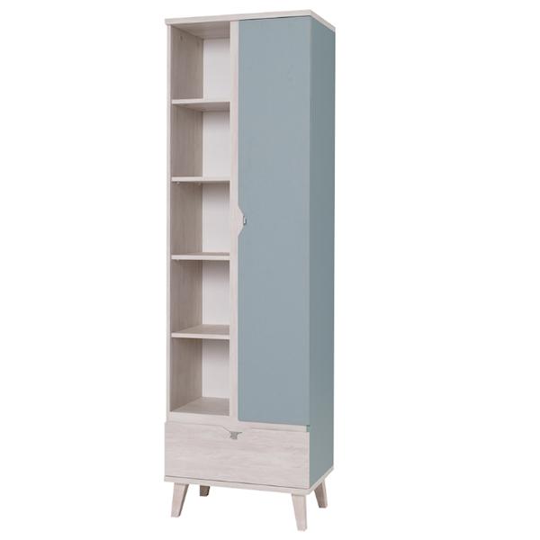 MEMONE - Regał 1-drzwiowy + szuflada - Dąb biały