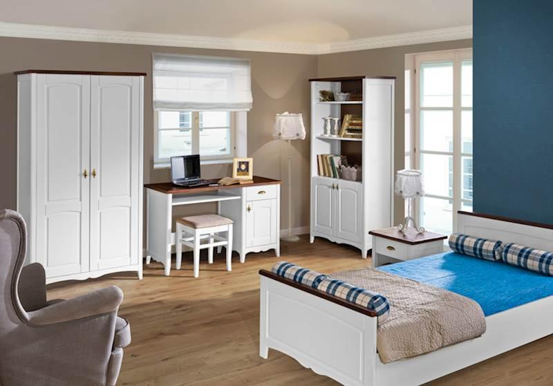 Prowansja - Zestaw meble młodzieżowe (biurko + szafa + łóżko + regał + stolik nocny + taboret) - biały