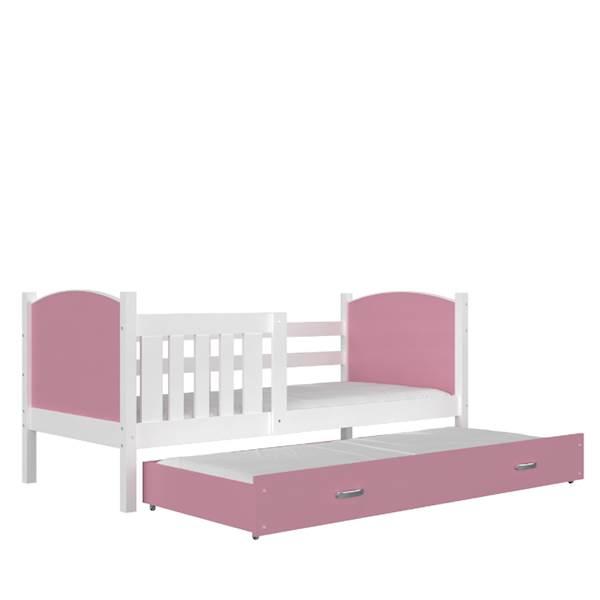 Tami - Łóżko 2 poziomowe z materacem 190x80 cm, z szufladą (biały + różowy)