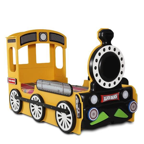 Łóżko dziecięce z materacem 190x90 cm - Pociąg, Lokomotywa - żółty