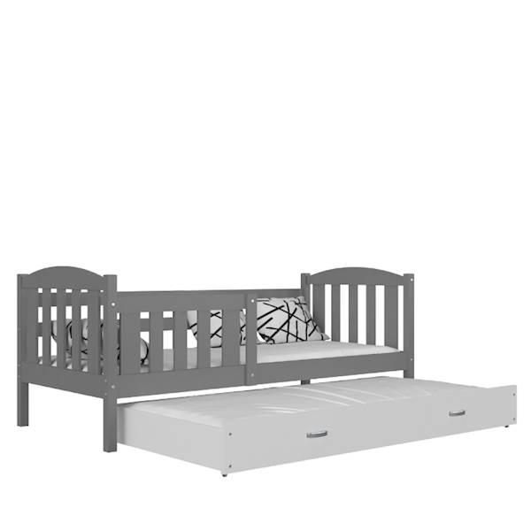 Kubuś - Łóżko 2 poziomowe z materacami 190x80 cm, z szufladą (szary + biały)