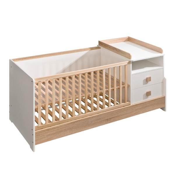 Marsylia ATB - łóżeczko kompaktowe (szuflady + przewijak + biurko) - dąb sonoma + biały