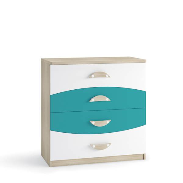 TENUS II - Komoda 4 szuflady - Dąb sonoma + turkus