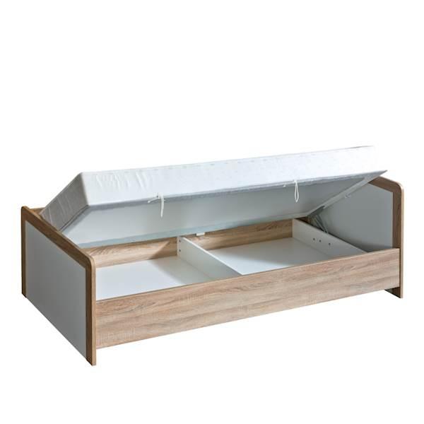 Marsylia ATB - Łóżko tapczan z materacem 200x90 cm - dąb sonoma + biały