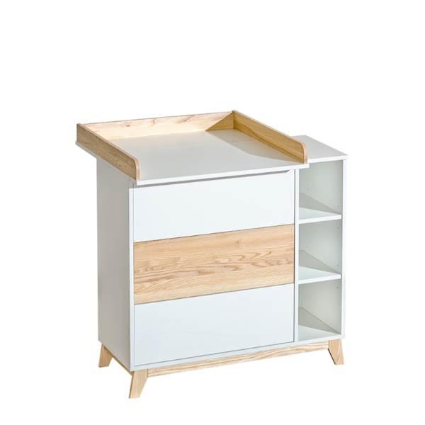 Nordik - Komoda 3 szuflady z przewijakiem - Jesion + biały