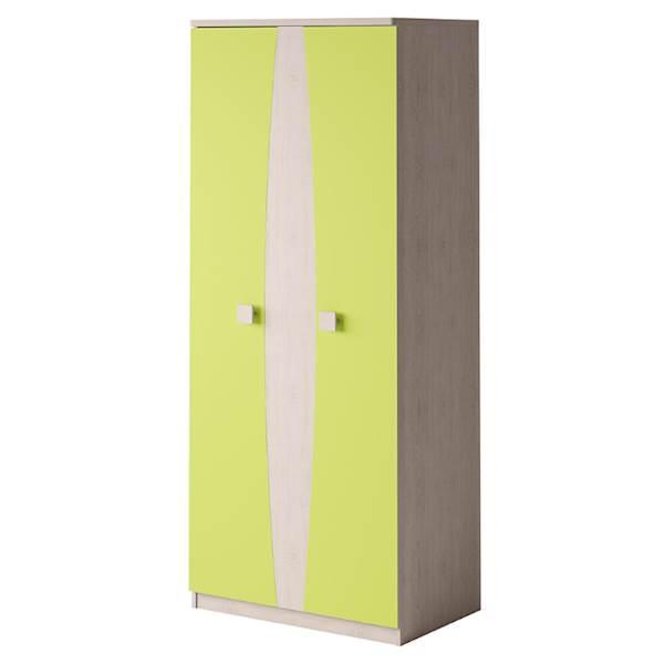 TENUS - Szafa 2-drzwiowa - Dąb santana + zielony