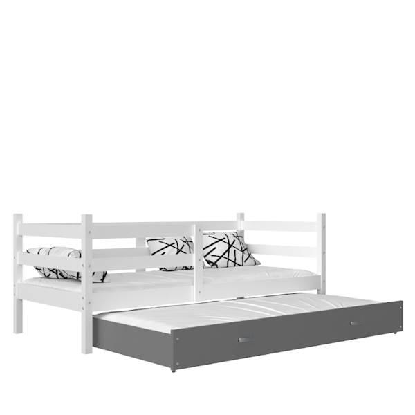 Jacek - Łóżko 2 poziomowe z materacem 190x80 cm, z szufladą (biały + szary)