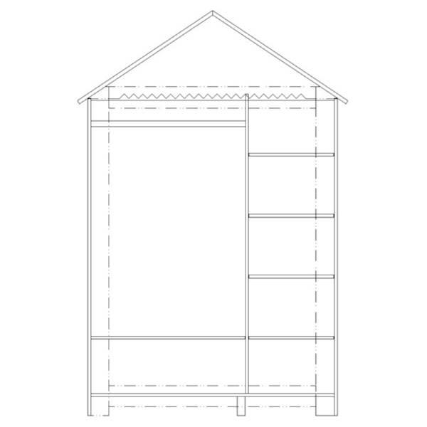 Marsylia MDF Pinio - Szafa duża 3 drzwiowa domek - kolor biały