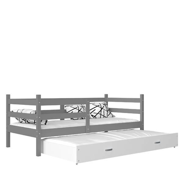 Jacek - Łóżko 2 poziomowe z materacem 190x80 cm, z szufladą (szary + biały)