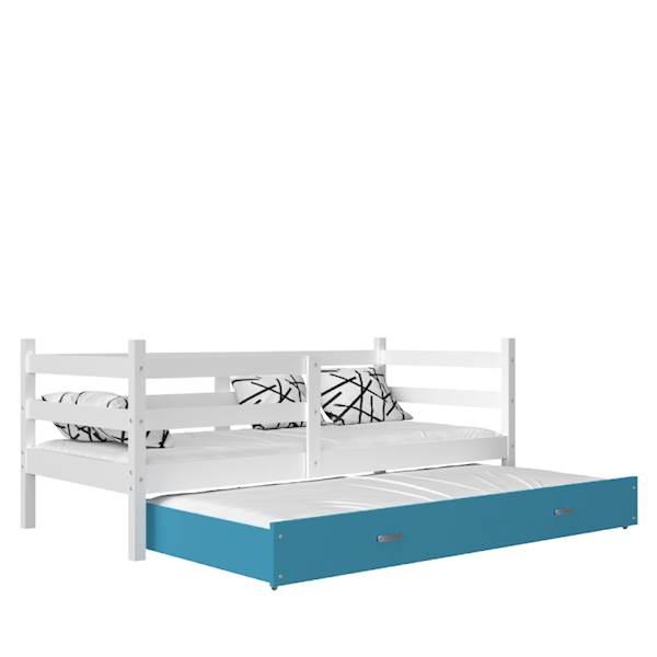 Jacek - Łóżko 2 poziomowe z materacem 190x80 cm, z szufladą (biały + niebieski)