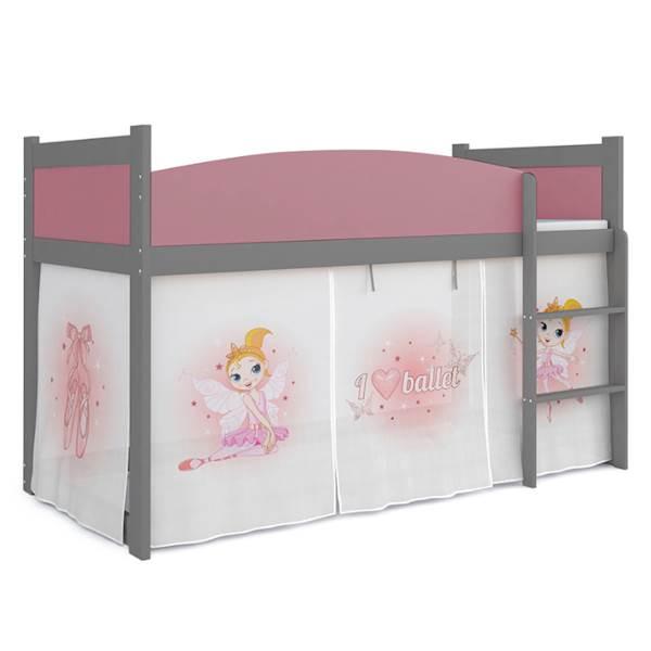 Łóżko Antresola z materacem 184x80 cm, wzór: Wróżka (róż, szary)