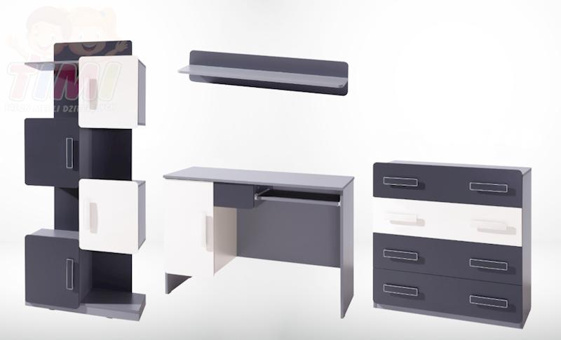 Zestaw Mebli 1 - LIDO - Grafit (regał, biurko, komoda, półka)