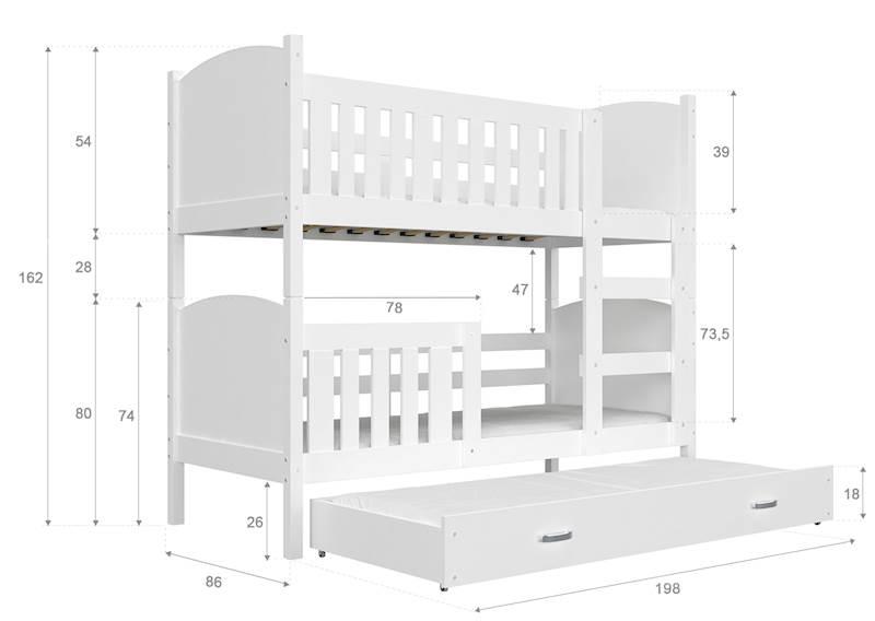 Łóżko piętrowe 3 osobowe - Tami (szary biel) z materacami 190x80 cm, z szufladą