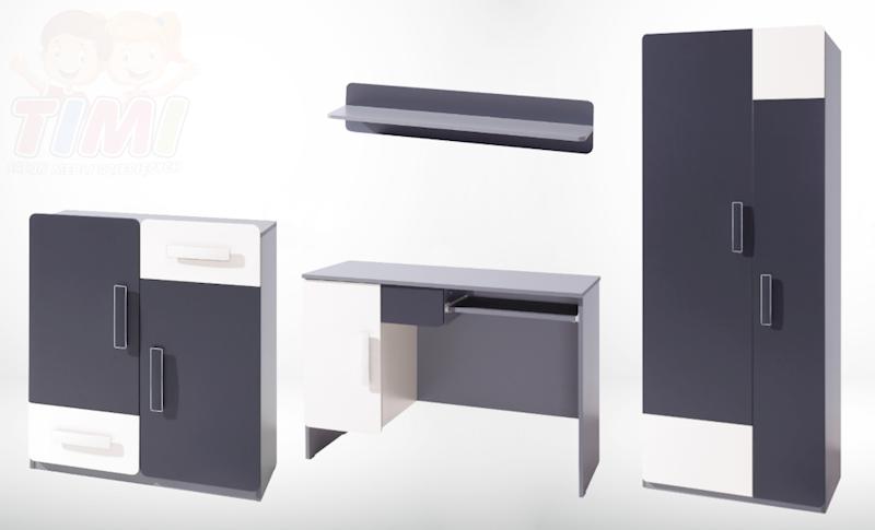 Zestaw Mebli 5 - LIDO - Grafit (biurko, komoda, szafa, półka)