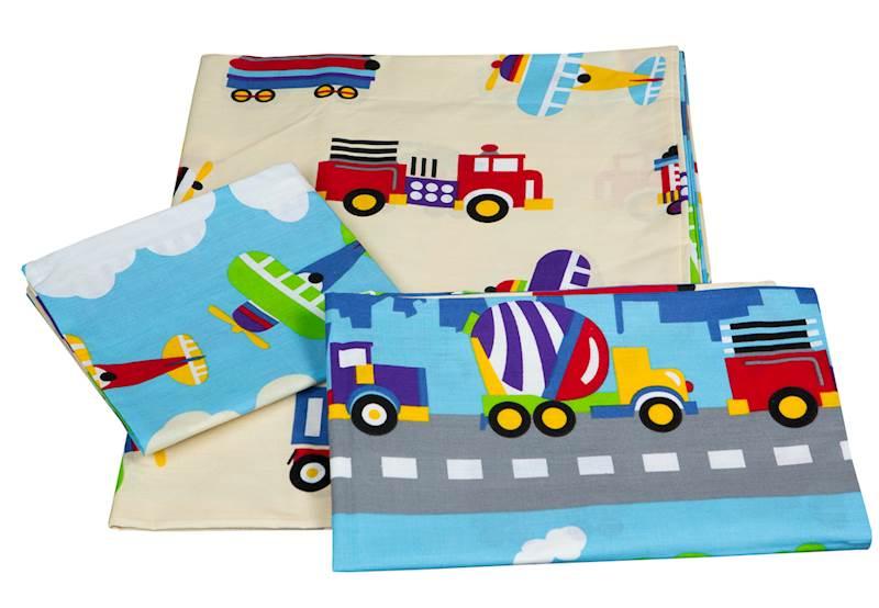 Pościel dziecięca zestaw na łóżko 160x80, 3-elemenowy - Pojazdy, samoloty