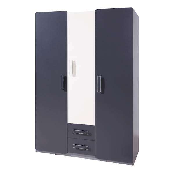 LIDO - Szafa 3-drzwiowa - Grafit + popiel + biel