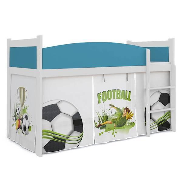 Łóżko Antresola z materacem 184x80 cm, wzór: Piłkarz(błękit, biel)
