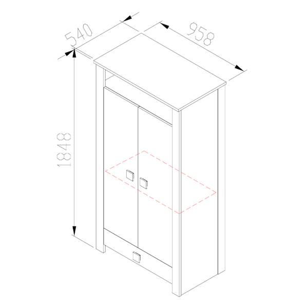 Marsylia ATB - Szafa 2 drzwiowa z szufladą - dąb sonoma + biały