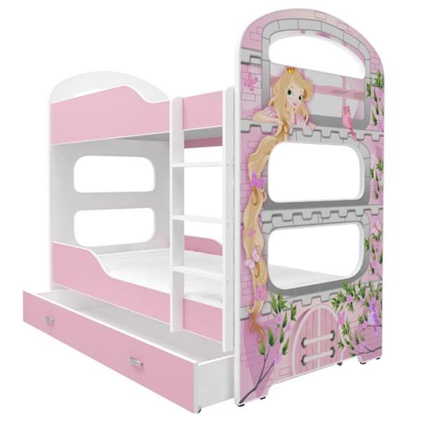 Łóżko piętrowe 2 os. - Dominik (wzór: Księżniczka) z materacem 180x80 cm, z szufladą