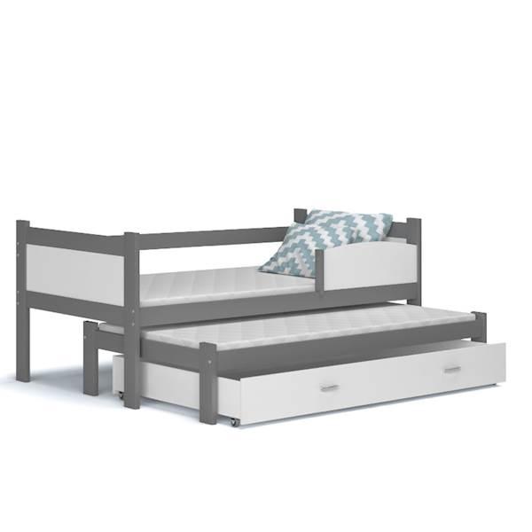 Łóżko 2 poziomowe - TWIST (szary + biały) z materacami 184x80 cm, z szufladą