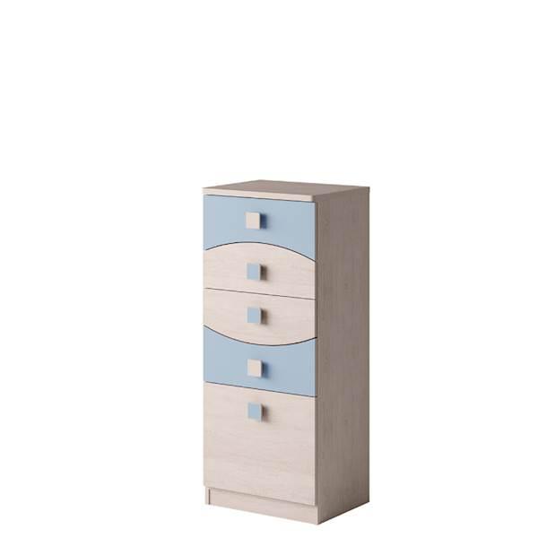 TENUS - Komoda 5 szuflad - Dąb santana + niebieski