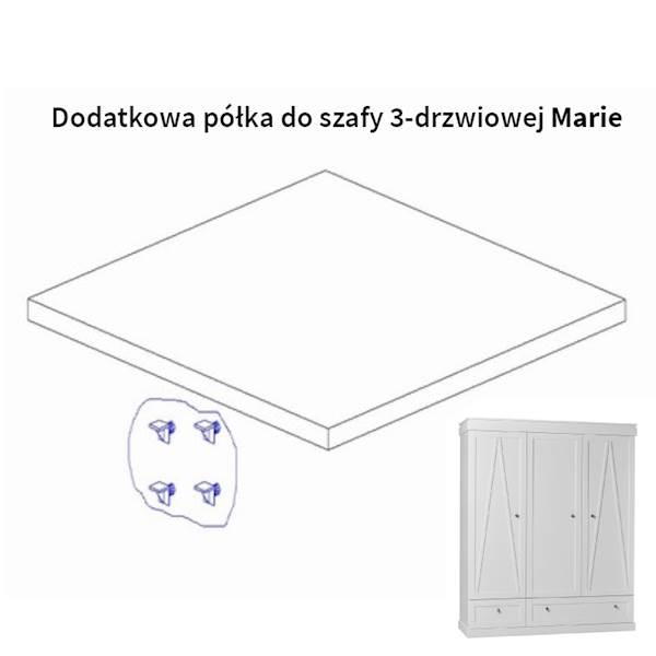Marie Pinio - Dodatkowa półka do szafy 3 drzwiowej - kolor biały