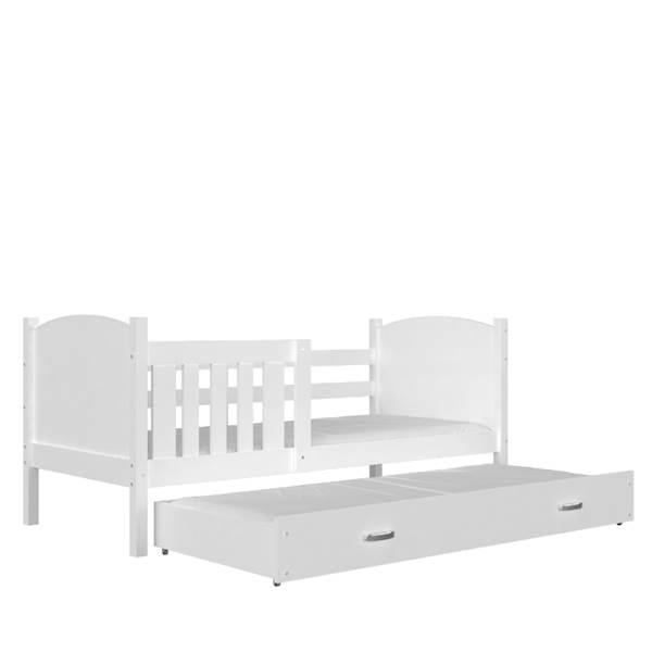 Tami - Łóżko 2 poziomowe z materacem 190x80 cm, z szufladą (białe)