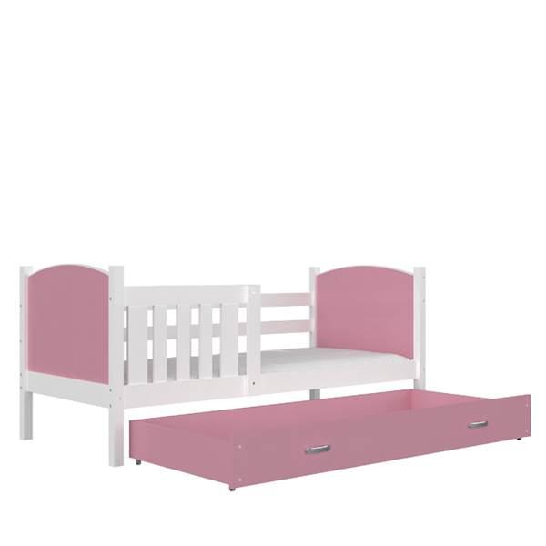 Tami - Łóżko parterowe z materacem 190x80 cm, z szufladą (biały + różowy)