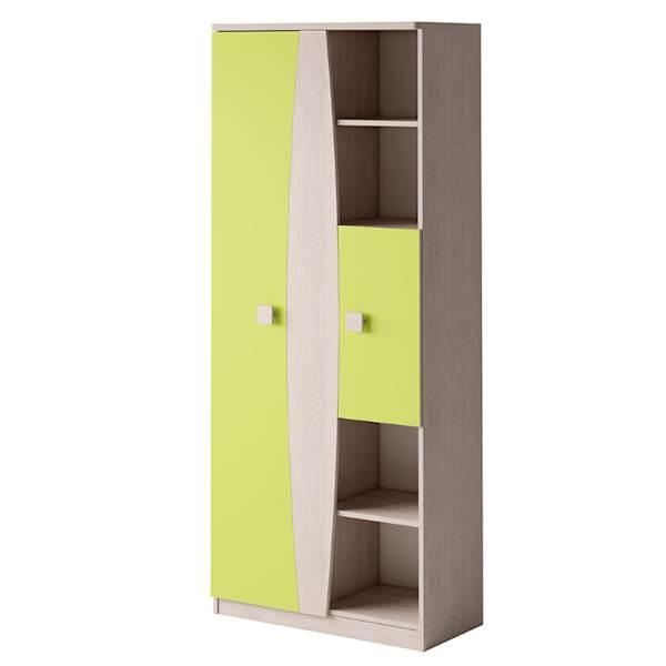 TENUS - Regał 2-drzwiowy 80 - Dąb santana + zielony