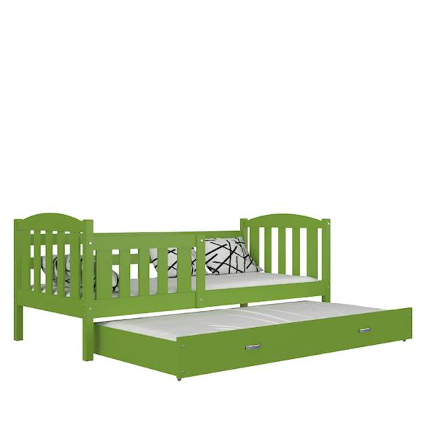 Kubuś - Łóżko 2 poziomowe z materacami 190x80 cm, z szufladą (zielone)