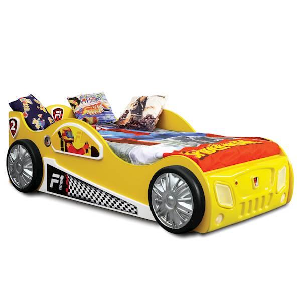 Łóżko dziecięce z materacem 190x90 cm - Auto Monza - żółty