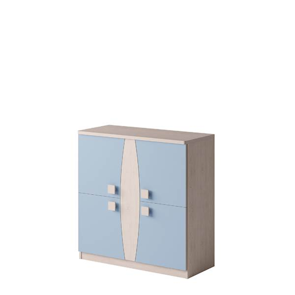 TENUS - Komoda 4-drzwiowa - Dąb santana + niebieski