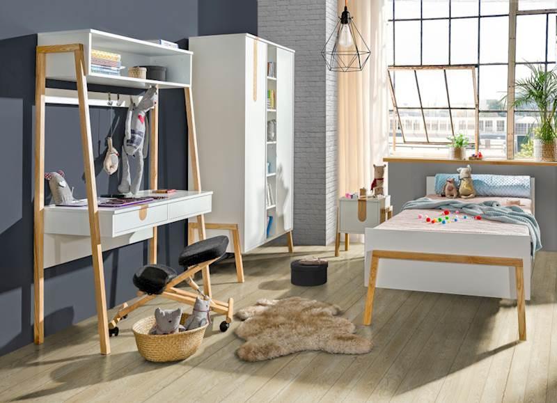 Yeti - Biurko dla dziecka z przewijakiem - Jesion + biały