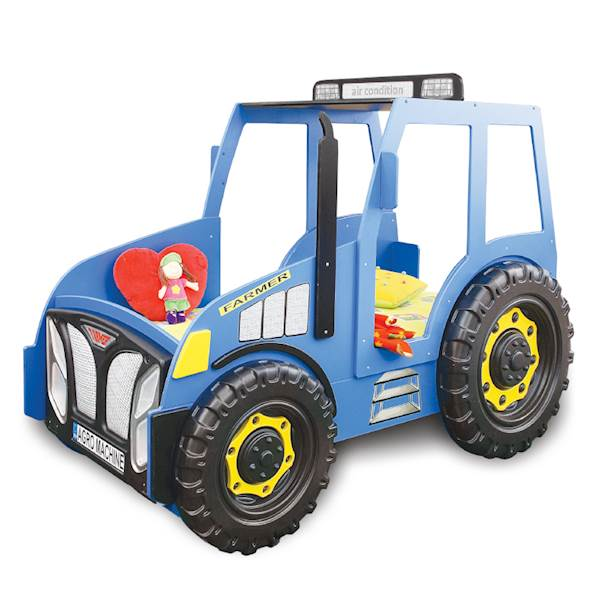 Łóżko dziecięce z materacem 180x90 cm - Traktor niebieski