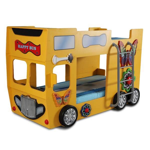 Łóżko piętrowe dziecięce z materacami 190x90 cm - Happy Bus Autobus - żółty
