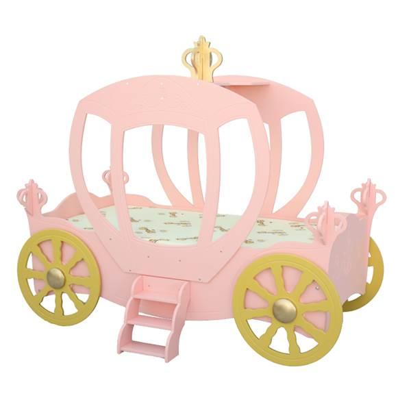 Łóżko dziecięce z materacem 180x90 cm - Karoca dla księżniczki - różowa
