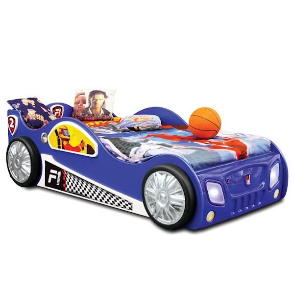 Łóżko dziecięce z materacem 190x90 cm - Auto Monza - niebieski
