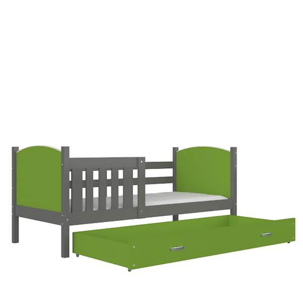 Tami - Łóżko parterowe z materacem 190x80 cm, z szufladą (szary + zielony)