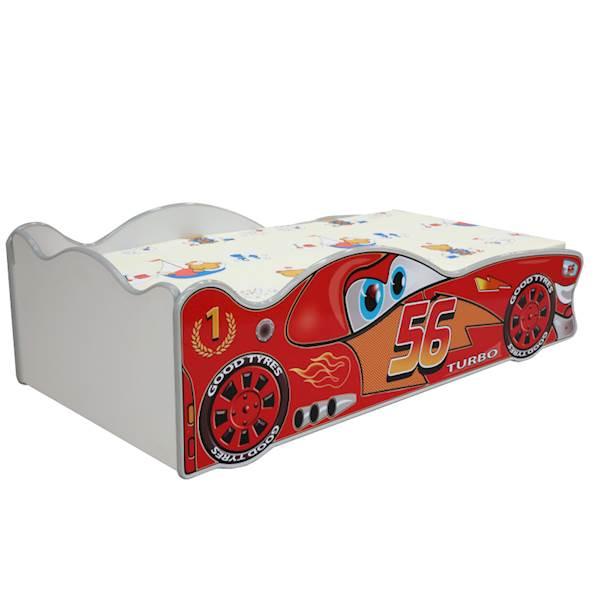 Łóżko dziecięce z materacem 160x80 cm - ZygZak auto - czerwony