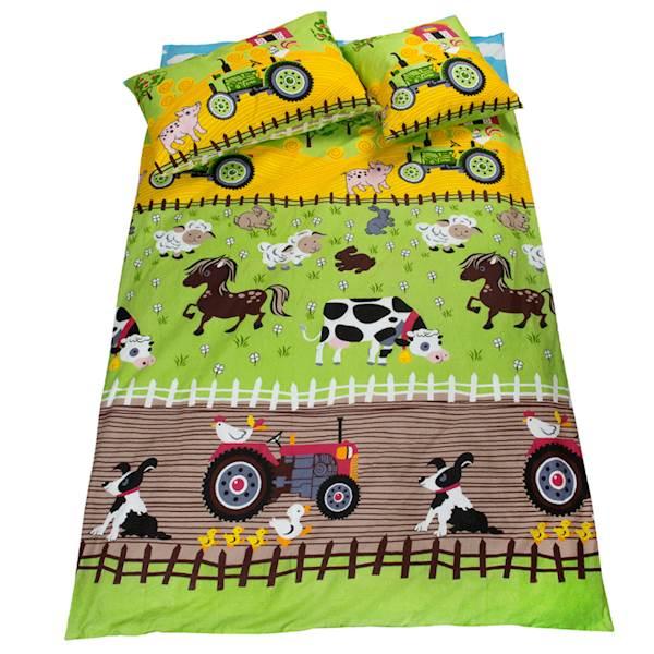 Pościel dziecięca zestaw na łóżko 160x80, 7-elementowa - Farma, konie