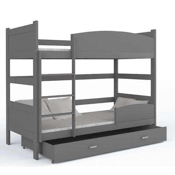 Łóżko piętrowe 2 osobowe - TWIST (szare) z materacami 184x80 cm, z szufladą