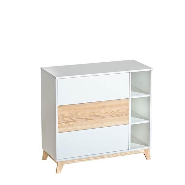 Nordik - Komoda 3 szuflady - Jesion + biały