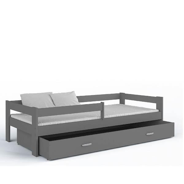 Łóżko 1 os. - Hugo (szary) z materacem 160x80 cm, z szufladą