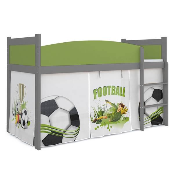 Łóżko Antresola z materacem 184x80 cm, wzór: Piłkarz (zieleń, szary)