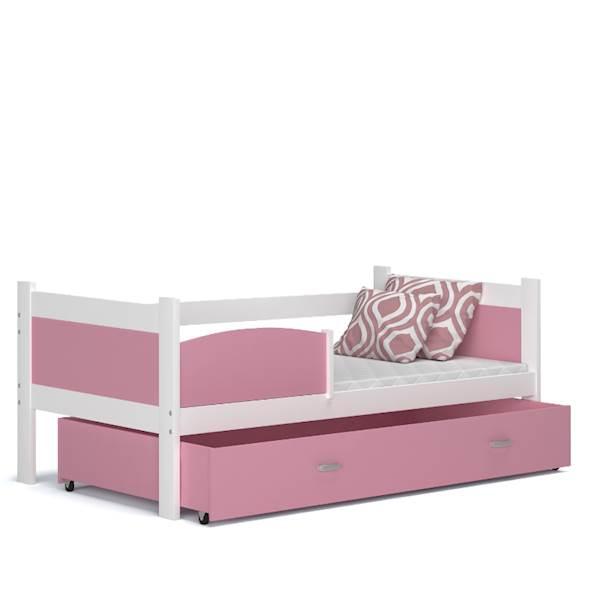 Łóżko parterowe - TWIST (biały + różowy) z materacami 184x80 cm, z szufladą