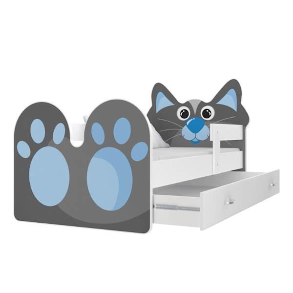 Łóżko Kotek z materacem 160x80, z szufladą - wzór 01
